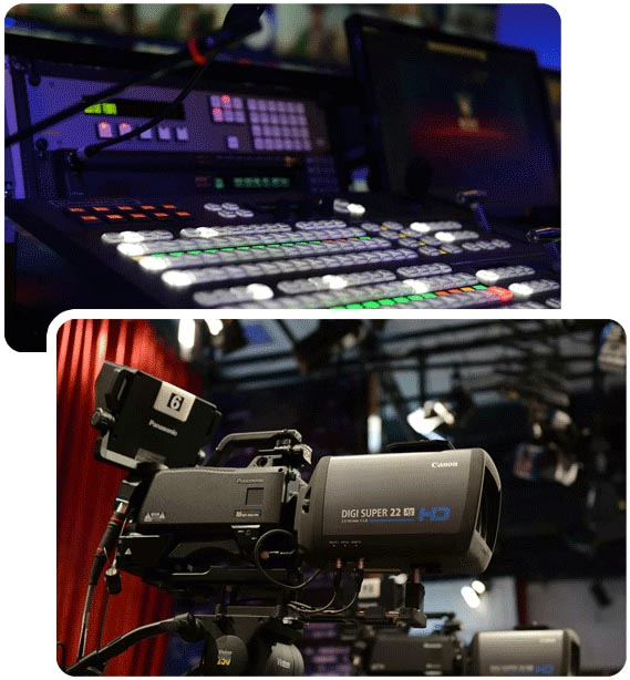 A picture of a video mixer in a studio and a 4k camcorder, used for broadcast solutions in a studio bss broadcasting service broadcast services, uae broadcast, uae broadcasting, studio